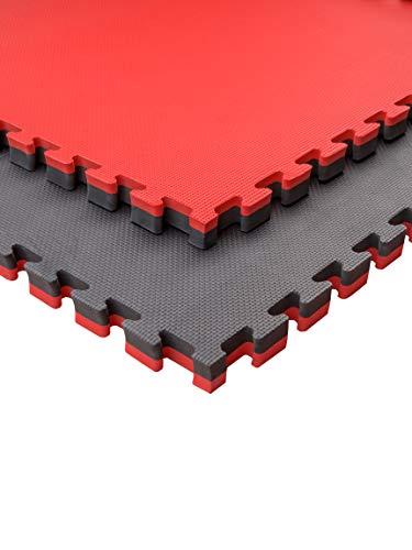 Pack Esterilla Goma Espuma Estructura Tatami Puzzle Ideal Artes Marciales, Judo, Suelo Tatami Japonés | Grosor: 4cm (Rojo/Negro, 6m2)