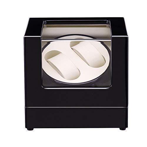 ZhenHe A prueba de polvo de reloj enrollador de madera rotación automática reloj enrollador caja de almacenamiento caja de exhibición 2+0 regalos para hombres