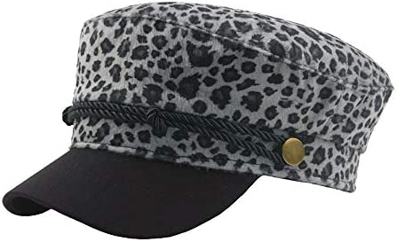 LUZIWEN Herfst Beret Cap Winter Womens Wool Heren Leopard Vintage Top Navy Hat Straat Flat Influx ColorGray Size5658CM