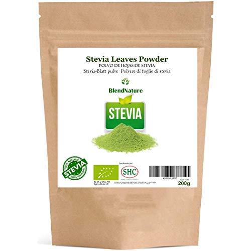 Stevia Pulver - Ökologisch 100% natürlich 200Gr. - Premium ausgewählte Blätter - BIO-Zertifikat - Vegan -ohne Kalorien -ohnechemischen Substanzen.