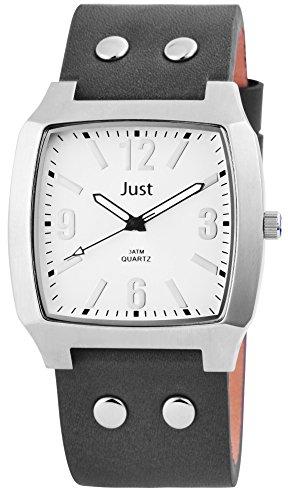 Just Reloj analógico para hombre con correa de piel auténtica–48de s10451N de WH
