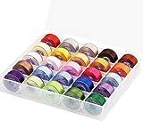 Simthread - Juego de 25 bobinas preenrolladas de 60 W (SA156) con caja de plástico transparente de almacenamiento para máquina de hilo de coser hermano
