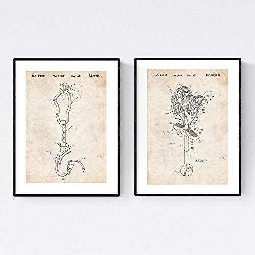 Set van 2 messen voor enmaracar klimmen, liefhebbers van Montana. 250gr papier. Twee posters gestanste afbeeldingen. Versier de woonkamer of balken (A4).