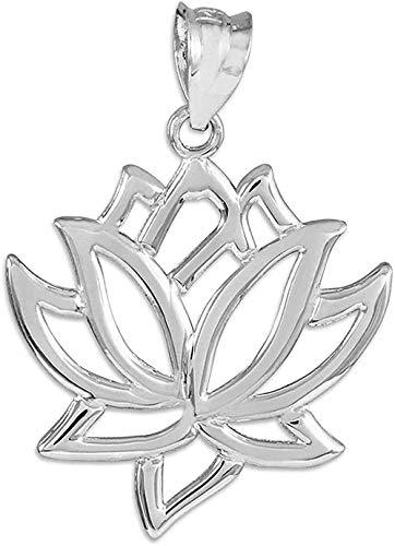 LBBYMX Co.,ltd Collar de Tesoros de Moda - 14 CT - Colgante de Flor de Loto de Oro Blanco