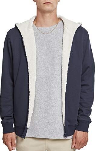 Urban Classics Herren Sherpa Lined Zip Hoodie Sweatjacke, Mehrfarbig (NVY/Offwhite 01451), S