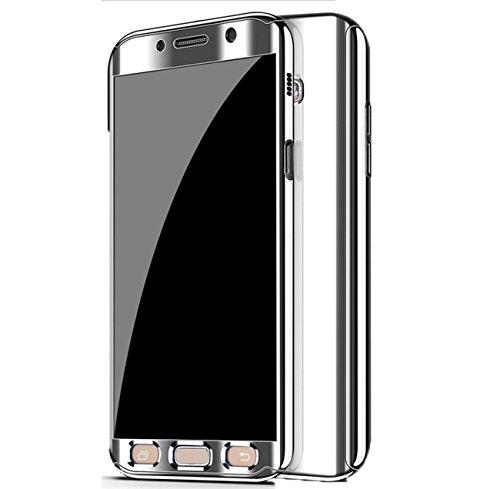 Qissy Hülle für Galaxy S7 /Galaxy S7 Edge, Ultra Thin 3 in 1 Handytasche Hart Spiegel Schutzhülle für Galaxy S7 /Galaxy S7 Edge Cover (Silber, Samsung Galaxy S7)