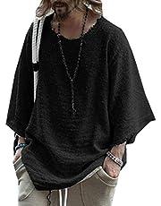 GAGA Mens Fashion Round Neck Cotton 3/4 Sleeve Plus Size Pullover T-Shirt