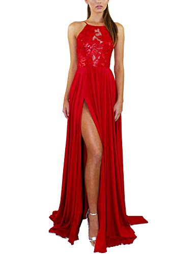Vestidos De Cóctel De Encaje Halter Espalda Descubierta Sexy Swing Fiesta Maxi Vestido De Mujer Rojo S