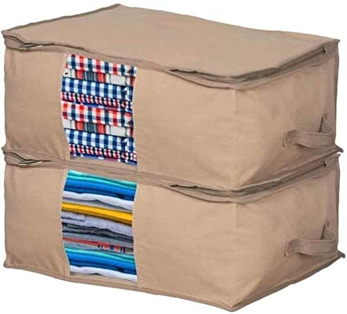 Moth Protection Clothing Organizer Bag – Cedar Insert to Protect from Moth, Insects, Moist etc. – Set of 2 Bags for Storing Clothes, Sweaters, Beddings, Blanket, Blouses and More –Under-bed Storage