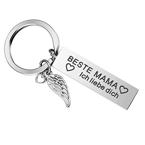 Eltern-Schlüsselanhänger - Beste Mama und Papa Geburtstagsgeschenk Freundin Schwester Abschluss Geschenke Freundschaft Geschenk Schlüsselanhänger (Silber-19)