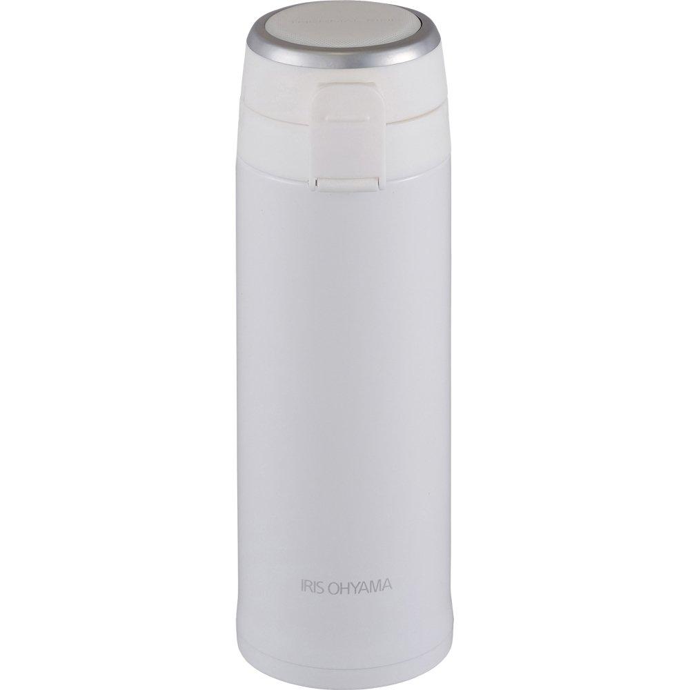 アイリスオーヤマ 水筒 ステンレスボトル マグボトル ワンタッチ 軽量 480ml ホワイト スペアパッキン付 MBKW-480