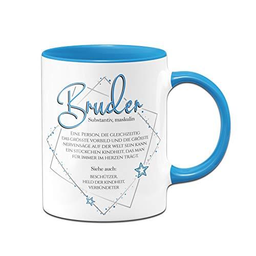 Tassenbrennerei Tasse mit Spruch Definition Bruder - Geschenk für den kleinen oder großen Bruder - Spülmaschinenfest (Blau)