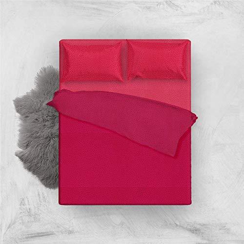 L'ANTICO ARCOLAIO Set Completo Letto Lenzuola Microfibra No Stiro Bicolore Jaquard (Rosso/Bordeaux, Matrimoniale 2P)