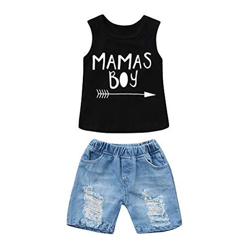 Babybekleidung,Baby Jungen Kleidung Set Ärmllos T-Shirt Tops Shorts Strampler Bekleidungssets Jeans Hosen Neugeborenes Strand Oberteil Sommerkleidung