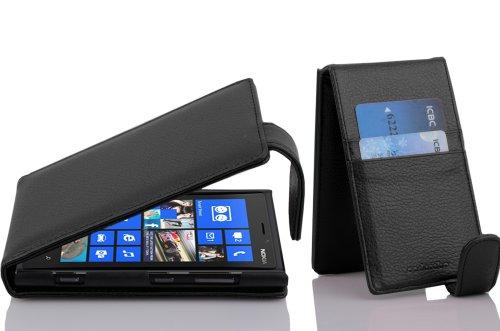 Cadorabo Custodia per Nokia Lumia 920 in NERO PROFONDO - Protezione in Stile Flip di Similpelle Strutturata - Case Cover Wallet Book Etui