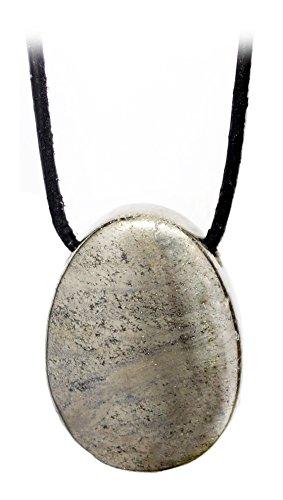 Kaltner Präsente Idea de regalo – Collar de cuero para hombre y mujer con colgante de piedra preciosa de pirrita, oro de gato