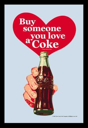 Empire 552143 Heart Miroir imprimé Coca cola avec Cadre en Plastique façon Bois 20 x 30 cm