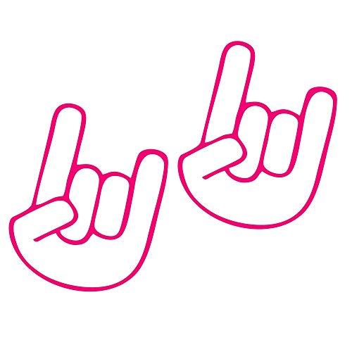 Folien-zentrum - Juego de 2 pegatinas para tuning (7,5 x 9,5 cm), diseño de mano de rockero, color rosa