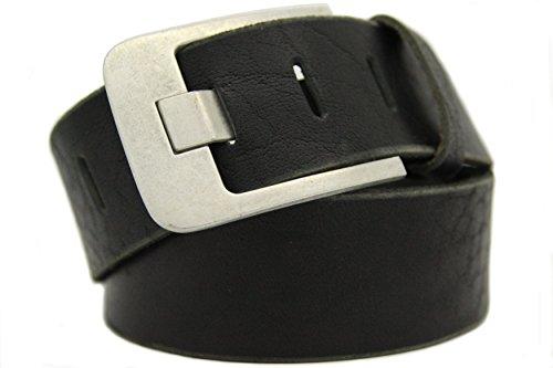 Echt LEDER Gürtel Herren Damen Büffelleder Voll-Leder Unisex Gürtel in Schwarz und Braun in 5cm Breite A (90cm, Schwarz)