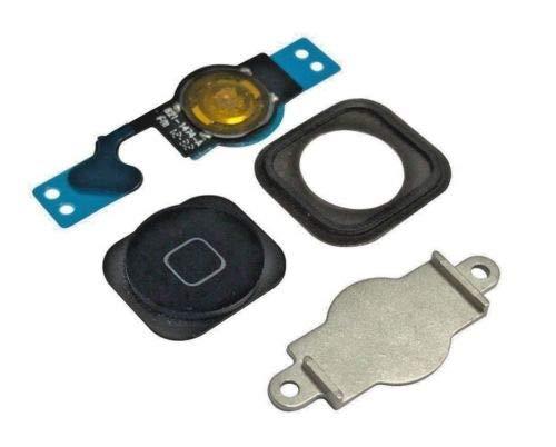 XcellentFixParts Repuesto Boton Home Reemplazo Botón de Inicio para iPhone 5 (Negro) con Placa de Soporte metálica pre-instalada, Junta de Goma Cable Flex
