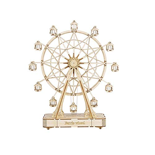 Modell 3D Holzpuzzle Riesenrad Holzpuzzle Kit Versammlungs-Modell for Kinder Teens Erwachsene 3D-Puzzles (Farbe: Natur, Größe: 155x62x165 (mm)) 8bayfa (Color : Natural, Size : 155x62x165(mm))