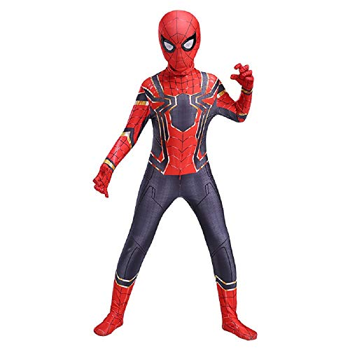 Diudiul Kids Superheld Spiderman Kostüme für Kinder Action Dress Ups und Zubehör Party Cosplay Kostüm (S(110-120cm), Rot Grau-Kind-C)