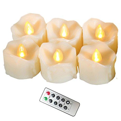 Erosway Flammenlose Kerzen, realistisch Flackernde LED Teelichter elektrische Kerzen, 300 Stunden Nonstop Leuchten mit Fernbedienung und 2/4/6/8 Stunden-Timer. Elfenbeinfarbe. 6 Stück/Paket(Weiß)