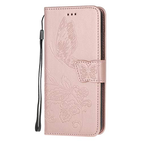 The Grafu Case Compatible with iPhone 6 Plus/iPhone 6S Plus, Multifunctional Magnetic Folio Flip Leather Case Cover with Card Slots and Wrist Strap for iPhone 6 Plus/iPhone 6S Plus, Rose Gold