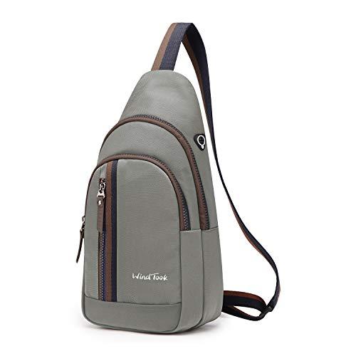 Wind Took Schultertasche Brusttasche Crossover Taschen Messenger Bag Sling Rucksack Umhängetasche Sporttasche Freizeit Daypack für Herren Damen, Hellgrau