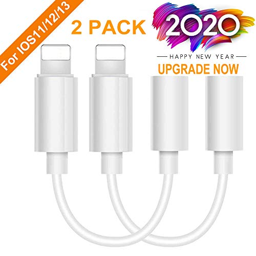 Lighting to 3.5 mm Headphone Adapter Earphone Earbuds Adapter Jack 2 Pack,Easy to Use,Compatible with Apple iPhone 11 Pro Max X/XS/Max/XR 7/8/8 Plus Plug and Play Satellite Finders