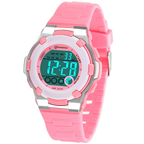 Kinderuhren Jungen Mädchen Kinderuhr Digital Wasserdicht Sports Kinder Armbanduhr mit Wecker/Timer/Datum/LED-Licht, Elektronische Stoßfest Digitaluhr Kinder Jungen