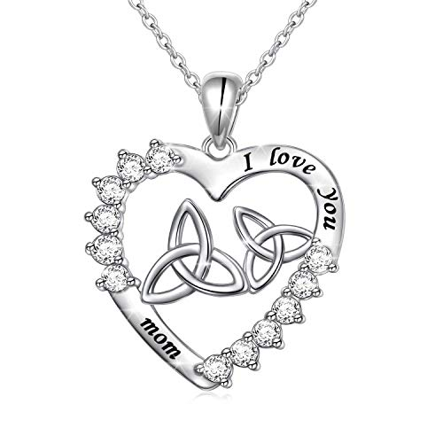 Ladytree Irish Celtic Trinity Knot Love Heart I Love You Mom Sterling Silver Pendant Necklace for Women Mothers Day Birthday Wedding Gifts from Daughter Son