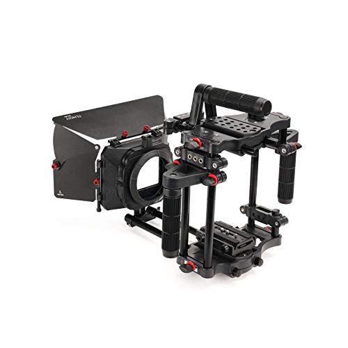 FILMCITY Power DSLR Camera Cage with MB-600 Sunshade Matte Box for DSLR Mirrorless or Video Camera Camcorders with Lenses up to 95mm in Diameter | Best & Affordable Combo Kit (FC-CTH-01)