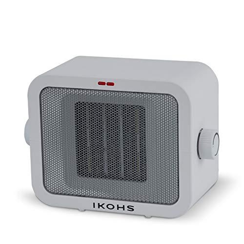 IKOHS WARMIC - Calefactor Cerámico de Habitación, Calefactor Portátil, 1500W, Termostato Regulable, 2 Modos de Potencia, Calefactor de Aire Caliente PTC, Protección del Sobrecalentamiento (Blanco)