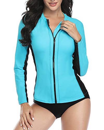 Daci Women Blue Rash Guard Zipper Long Sleeve Swimsuit Shirt Bathing Suit UPF 50 with Built in Bra S