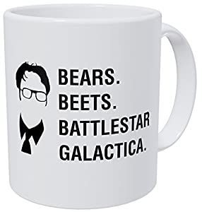 Wampumtuk Bears Beets Battlestar Galactica Jim, Dwight Schrute The Office 11 Ounces Funny Coffee Mug