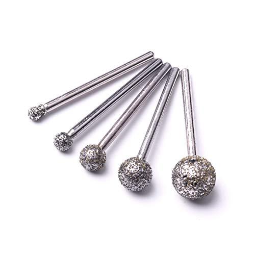 ATOPLEE Diamant beschichtete Frässtifte Set Passend für Präzisionswerkzeuge, Diamant-Burr-Set für Schmuck, Glas, Stein, Keramik, Edelsteine ??Lapidarium (Large grober Sand Ball, 5 Stück)