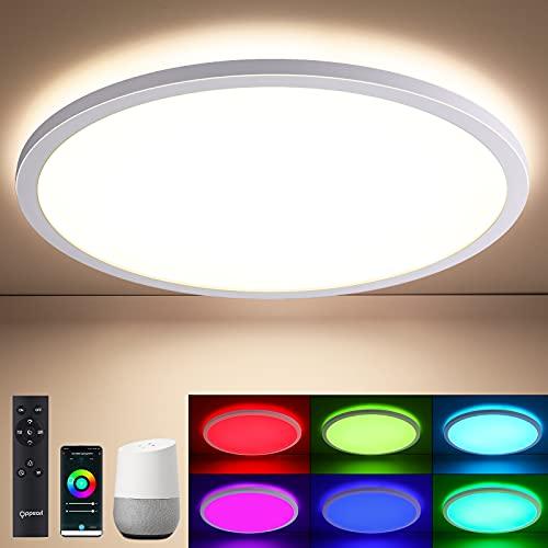 Samrt RGB LED Deckenleuchte Flach mit Fernbedienung, OPPEARL LED Deckenlampe WIFI Farbwechsel Ultraslim, 24W 4000K Rund Leuchte Kompatibel mit Samrt Life/TUYA für Wohn-/Schlafzimmer Küche, Ø45*2.5cm