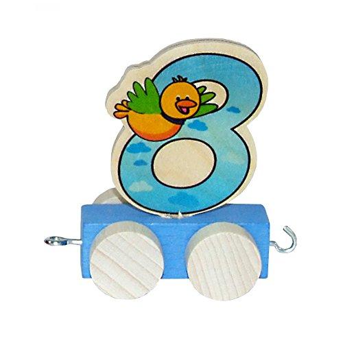 Hess houten speelgoed 00450 - Waggon voor verjaardag cijfers 7 cm 8 met vogel