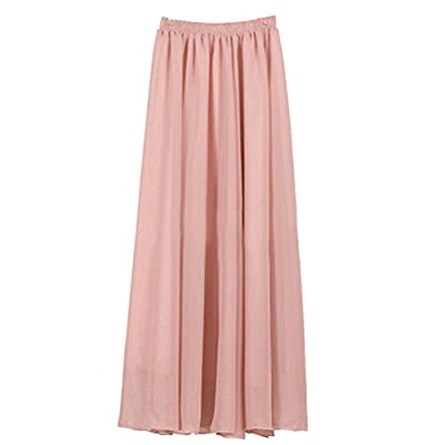 Ezcosplay Women's Double Layer Retro Chiffon Long Skirt Elastic Waist Boho Skirt Pale Rose