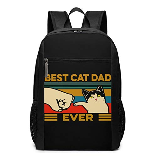Best Cat Dad Ever 2 17 Inch Bookbags Durable Waterproof Computer Bags Laptop Backpack For Male Lady'S Students