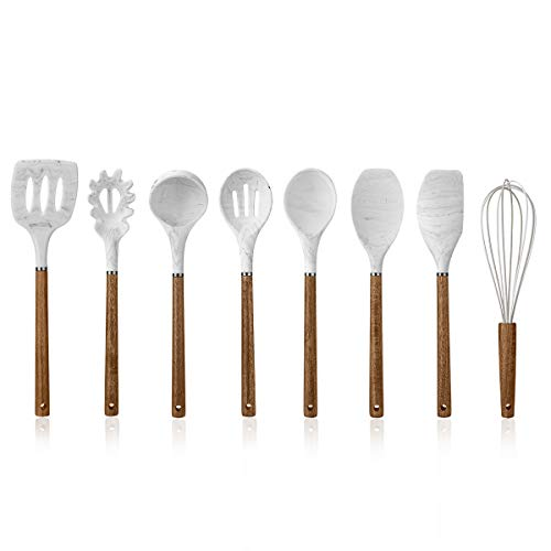 Cook with Color 8 Pc Non Stick Silicone Utensil Set with Rounded Wood Handles for Cooking and Baking - Marble White