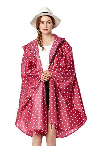 NUUR Damen Regenponcho Regenmantel Unisex Regenjacke Wasserdicht Regencape Wiederverwendbar mit Kapuze (One Size, Rote Punkten)