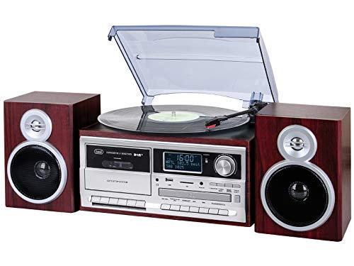 Trevi TT 1072 DAB Sistema Giradischi Stereo Bluetooth con Ricevitore Digitale DAB / DAB+, Funzione Encoding, Lettore Mp3, CD, USB, Aux-In, SD, Musicassette, Legno