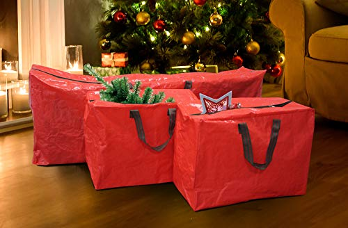 Guilty Gadgets 3 Christmas Xmas Storage Tear-Proof Polyethylene Zip Bag For Tree Decorations & Lights With Handles