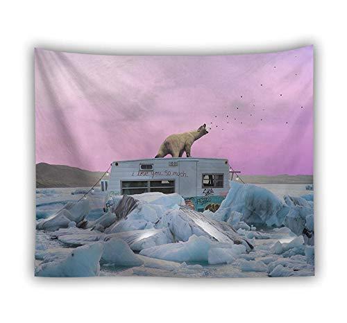 Tapestry Wall Hanging,3D Art Großer Wandteppich Psychedelic Böhmische Hippie Böses Tier Weiß Polar Bear Hängende Tuch-Gt 727076 - Tapisserie Für Schlafzimmer Wohnzimmer Strand Kissen-150×230Cm