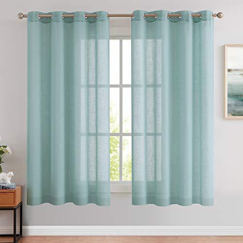 BEST DREAMCITY Sheer Curtains 63 inch for Living Room Bedroom Linen Textured Semi-Sheer Grommet Voile Drapes Window Treatment Set Crosshatch Textured Curtain Panels Blue Haze 2 Panels