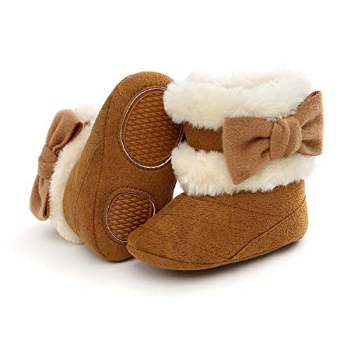 COSANKIM Baby Girls Boys Boots Soft Anti-Slip Sole Warm Winter Snow Booties Toddler Infant Newborn Prewalker Shoes(6-12 Months Infant, 03-Brown Baby Shoes