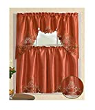 All American Collection Modern Contemporary 3pc Embroidered Home Kitchen Window Treatment Curtain Set (Swag Valance, Floral Rust)