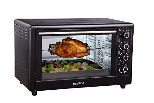Bastilipo Milan Black - Horno de cocina - electrico - sobremesa - convección multifunción de 55 litros - 2200W - Color negro